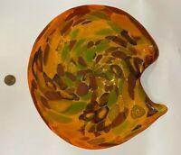 """Murano Toso Italian Art Glass Bowl Multi Colored & White Cased w Aventurine 9.5"""""""