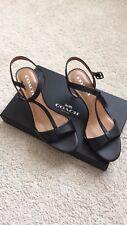 74cd8b847faa NIB Coach leather open toe heels in black size 8 1 2