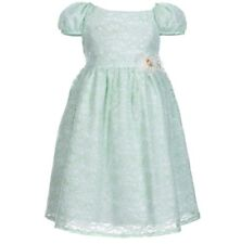 Laura Ashley Little Girl's Cap-Sleeve Floral Mint Green Lace Dress-Size-5