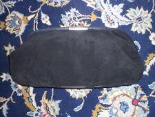 VINTAGE BLACK SUEDE LEATHER ITALIAN HANDBAG CLUTCH PURSE BAG SILVER CLASP