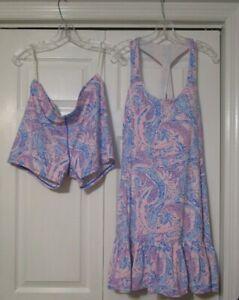 LILLY PULITZER Coastal Blue Maybe Gator Luxletic Tennis Dress & Shorts XL $138