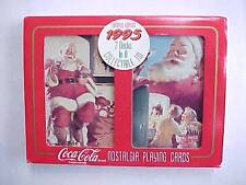 1995 Coca-Cola Santa Christmas Tin with Two Sealed Decks of Playing Cards