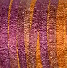 NASTRO di seta pura 2mm ricamo viola, arancione mano Tinto ORO Pansy - 3 M