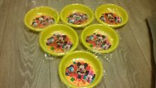 6 x Disney yellow plastic bowls, Mickey Minnie Mouse Donald Duck NEW
