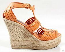 $455 RALPH LAUREN collection orange T-strap espadrille WEDGES shoes 7.5 Spain