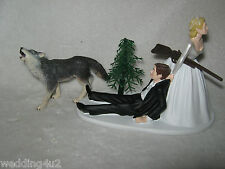 Wedding Party Reception Redneck ~Grey Wolf~ Rifle Hunter Hunting Cake Topper