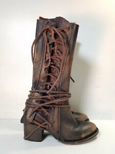 Freebird by Steven Cash Brown Leather Lace Up Boots Women's US 8