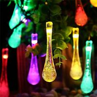 30 LED Water Drop Solar Power String Lights 6.5m Outdoor Garden Patio Fairy Lamp