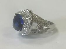 Gorgeous Sterling Silver XS Blue Sapphire Ring with Crystal Accents Size 8