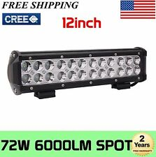 2X 12''inch 72W Led Work Light Bar Spot Suv Boat Driving Bumper Lamp Offroad 4WD