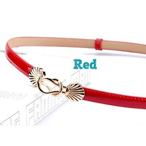 Women Skinny Patent Leather Belt Gold Solid Color Shell Alloy Buckle Waistband