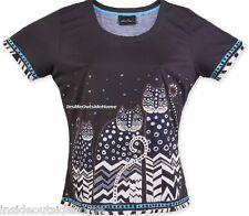 Laurel Burch Polka Dot Cats Gatos T Shirt Short Sleeve Polyester SMALL/MEDIUM