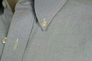 LL BEAN Shirt Blue Oxford Cloth All Cotton Button Down Collar Wrinkle Resistance