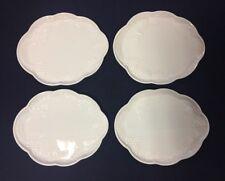 Vintage White Milk Glass Snack Luncheon Plates Grape Fruit Pattern Set of 4