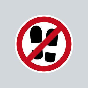 Aufkleber 4cm rund Sticker Schuh Betreten Verboten nicht mit Schuhen Schuhverbot