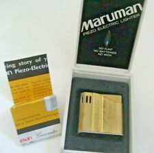 Vtg Gold Tone MARUMAN PIEZO ELECTRIC LIGHTER Original Box Brochure Pamphlet