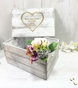 LARGE Personalised Keepsake Box Antique Wooden  Crate For Memories Engraved