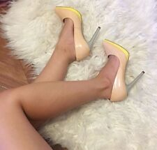 Siren High Heels Platforms Stilettos Pointed Toe Medium Nude Yellow Grey Size 6