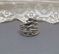 Sterling Silver Israel Hagit Gorali Organic Wrap Band Ring Branches 4.75