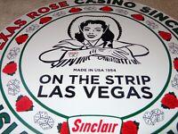 """VINTAGE 1954 SINCLAIR CASINO LAS VEGAS 11 3/4"""" PORCELAIN METAL GASOLINE OIL SIGN"""