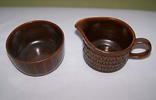 WEDGWOOD PENNINE (Brown) Oven to Table Creamer & Sugar Bowl Made in England  VGC
