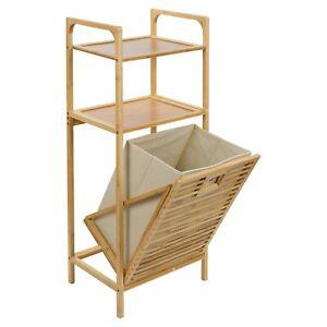 2 Shelves Bamboo Wooden Bathroom Basket Storage Laundry Unit Washing Rack