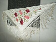 Antique Chinese Hand Embroidery Piano  cape shawl  190by82+Fringe46 cm cream
