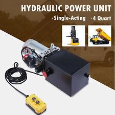 12 Volt Hydraulic Pump For Dump Trailer 4 Quart Single Acting Metal Reservoir