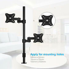"""Dual Computer Monitor Desk Mount Stand Adjustable Bracket 2 Screens Up to 27"""""""