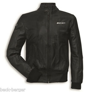 Ducati Leather Jacket Bomber Jacket from Leather Made IN Italy Black New
