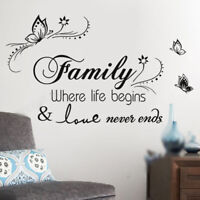Quote Mural Words Art-Vinyl Wall Sticker Home Kitchen Room Decal Decor Family