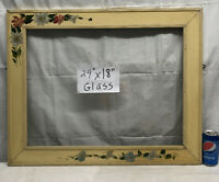 "Vtg LARGE Hand Cottage Tole Shabby Painted Flowers Wood Chalk 24""x18"" Frame"