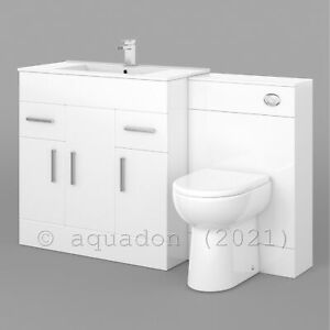 750mm White Vanity Unit Basin Sink and Toilet Bathroom Furniture Suite Turin