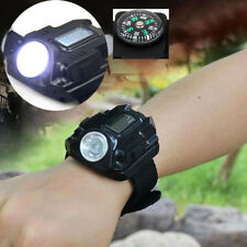 Outdoor Sport USB Rechargeable LED Waterproof Army Lamp Flashlight Wrist Watch