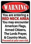 """WARNING RED NECK AREA ARMED MUSIC 12"""" x 18"""" Metal Sign FAST USA SHIPPING"""