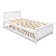 Artiss Wooden Trundle Bed Frame Timber Slat King Single Size White