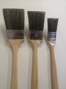 "Long Handle Radiator 3 Brush set 1x 3"" 1x 2.5"" 1 x 1.5"" Pure Bristle"