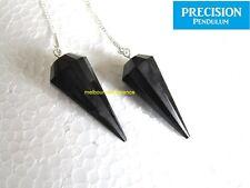 Solid Black Tourmaline Gemstone 12-Faceted Precision Pendulum Wiccam Power