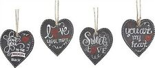 4 pc Valentine's Day Heart Ornaments - Faux Chalkboard