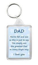 DAD Keyring Keyfob Poem Birthday Fathers Day Fun Novelty Gift Keepsake