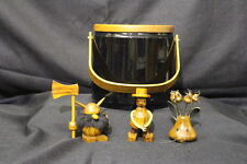 Vintage Georges Briard Black Vinyl Ice Bucket w/Teak Lid & Danish Cocktail Set