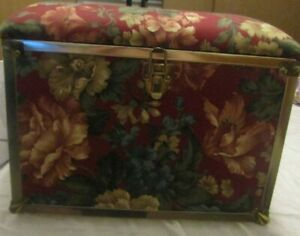 Sewing Kit box Small Foot Stool Padded Outer Foral Out Side