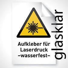50 GLAS KLAR Aufkleber Pickerl Bapperl Folie Sticker Fenster beschriften A4