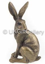 Alert Bronze Sitting Hare Rabbit Statue Sculpture Ornament Home Gift Present