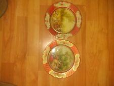 Lot Of 2 Old Daher Decorated Ware Metal Plates Belgium Lancret Le Printemps Lete