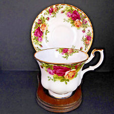 Vtg Royal Albert Old Country Roses Tea Cup Saucer Montrose Footed Scalloped Gold