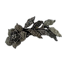 Hair Jewelry Large Crystal Long Stem Rose Barrette, Black / Free Gift Box