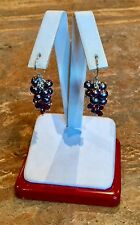 STERLING SILVER SIMULATED PEARL & AMETHYST CRYSTAL PIERCED EARRINGS GORGEOUS!!!