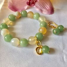 Handmade Genuine Gemstone Jewellery, Aventurine & agate bracelet & free earrings
