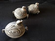 3 VINTAGE BIRD JEWELRY COIN BOXES BRASS AND NICKEL DHOKRA REPLICA ANCIENT TRIBAL